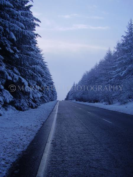Wintery snow scene on the road
